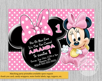Baby Minnie Mouse Christening Invitations