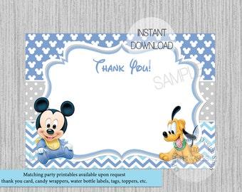 Lindo Bebé Mickey Mouse Bebé Ducha Tarjeta De Gracias Etsy