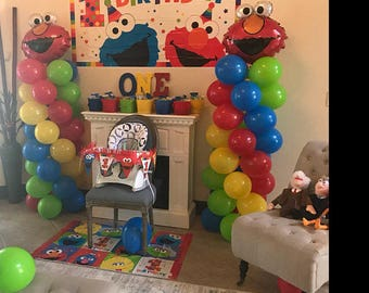 ELMO Birthday Balloons Decorations Elmo Party DIY KIT Easy To Assemble Balloon Column Sesame Street Decor