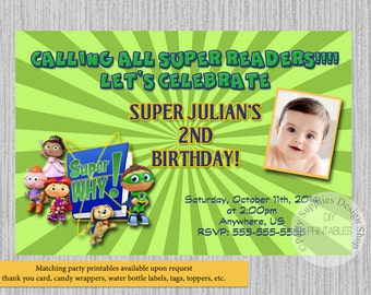 Super why invitations etsy super why birthday invitations super readers birthday party invitations diy printable super readers party supplies kids invitations filmwisefo