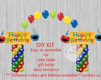 Sesame Street Birthday Balloons Elmo Cookie Monster Party Decorations DIY KIT Easy To Assemble Balloon Column