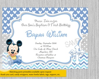 Cute Baby Mickey Mouse 1st Birthday Invitations Baptism Christening Party DIY Printable Supplies