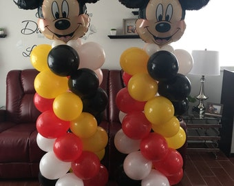 Mickey Mouse Birthday Balloons Party Decorations DIY KIT Easy To Assemble Dianey Classic Balloon Column