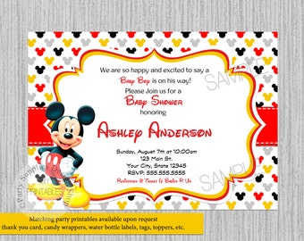 Mickey mouse baby shower invitations etsy printed or digital cute mickey baby shower invitations mickey mouse baby shower invitations red mickey baby shower supplies polka dots filmwisefo