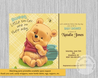 Baby Winnie The Pooh Baby Shower Thank You Card Instant Etsy