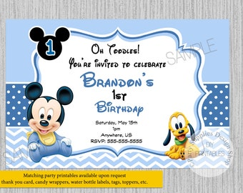 Cute Baby Mickey Mouse Birthday Invitations 1st Party DIY Printable Supplies Pluto