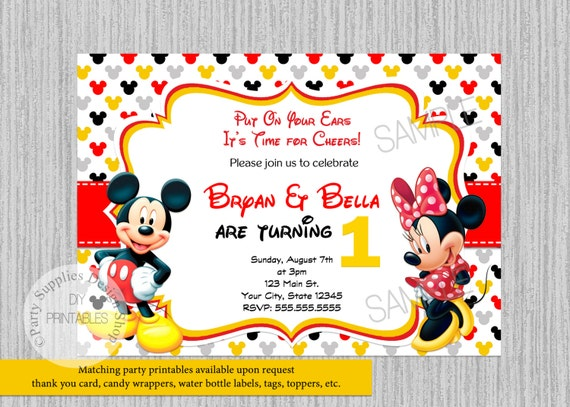 Twins Mickey Minnie Mouse Birthday Invitations Twins Birthday Party Invitations Mickey Party Supplies Printables Invitations Twins Party
