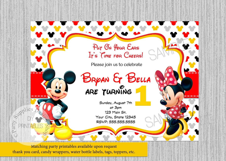TWINS Mickey Minnie Mouse Birthday Invitations Twins Birthday   Etsy