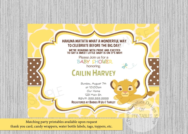 Lion King Simba Baby Shower Invitations Simba Baby Shower   Etsy
