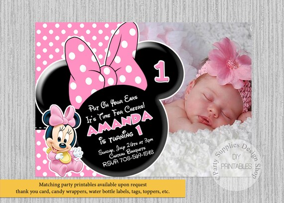 Cute Baby Minnie Mouse Birthday Invitations 1st