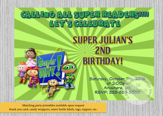 Super why birthday invitations super readers birthday party etsy image 0 filmwisefo