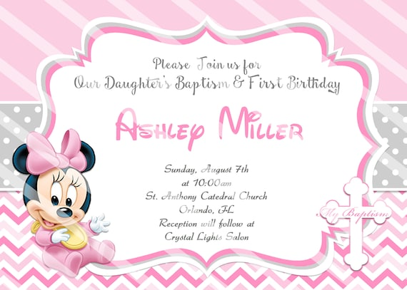 Baby Minnie Mouse Christening Invitations Baptism