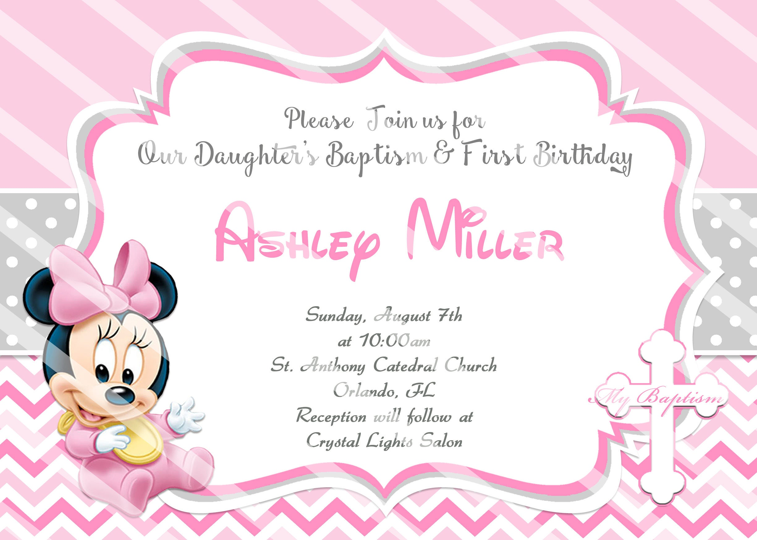 Baby Minnie Mouse Christening Invitations Baptism DIY Printable 1st Birthday Chevron