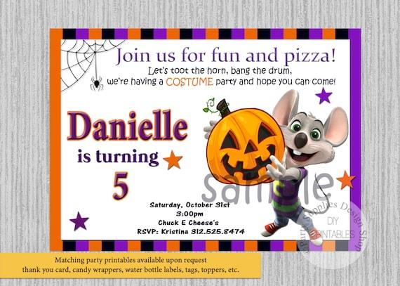 Halloween Chuck E Cheese Birthday Invitations ANY AGE