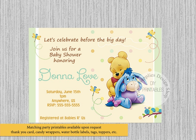graphic regarding Printable Winnie the Pooh Baby Shower Invitations identify Boy or girl Winnie the Pooh Kid Shower Invites, Boy or girl Shower Get together Products, Little one Eeyore Winnie the Pooh Electronic Invites Social gathering
