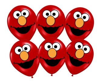 Elmo Printables for Balloons, INSTANT DOWNLOAD, Elmo Sesame Street Party Decorations, Elmo Birthday Balloons, Sesame Party Supplies