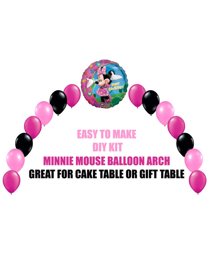Pink Minnie Mouse Birthday Balloons Minnie Party Decor Cake Etsy
