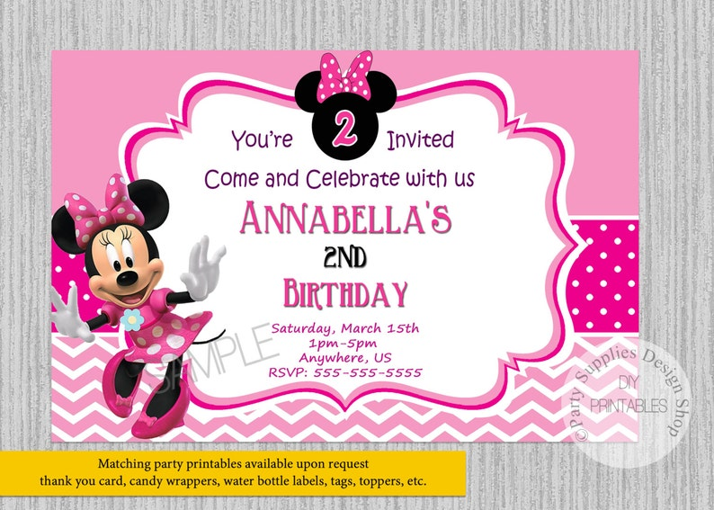 PRINTED Or Digital Minnie Mouse Birthday Invitations Pink