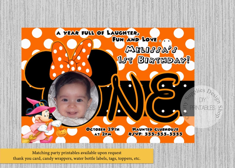 HALLOWEEN Minnie Mouse 1st Birthday Invitations DIY Printable