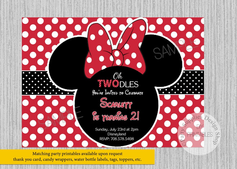 Red Minnie Mouse Birthday Invitations ANY AGE Minnie Mouse