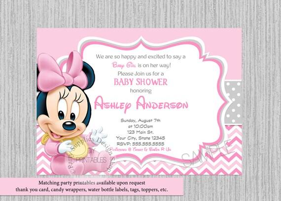 Cute Baby Minnie Baby Shower Invitations Minnie Baby Shower Etsy