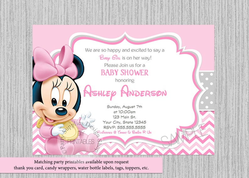 Cute Baby Minnie Baby Shower Invitations Minnie Baby Shower Invitations Baby Minnie Baby Shower Chevron Invitations Cute Minnie Mouse