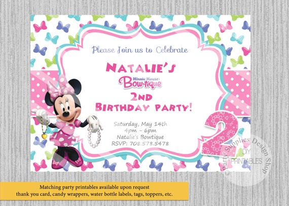 Bowtique Minnie Mouse Birthday Invitations Minnie Birthday