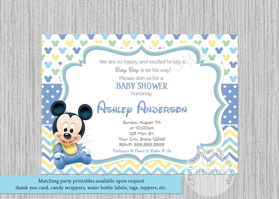 Disney baby mickey mouse baby shower invitations mickey baby etsy image 0 filmwisefo