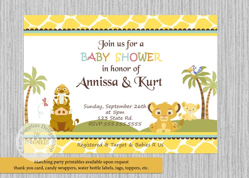 This is an image of Printable Lion King Baby Shower Invitations intended for blank