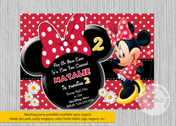 Red Minnie Mouse Birthday Invitations Any Age Minnie White Etsy