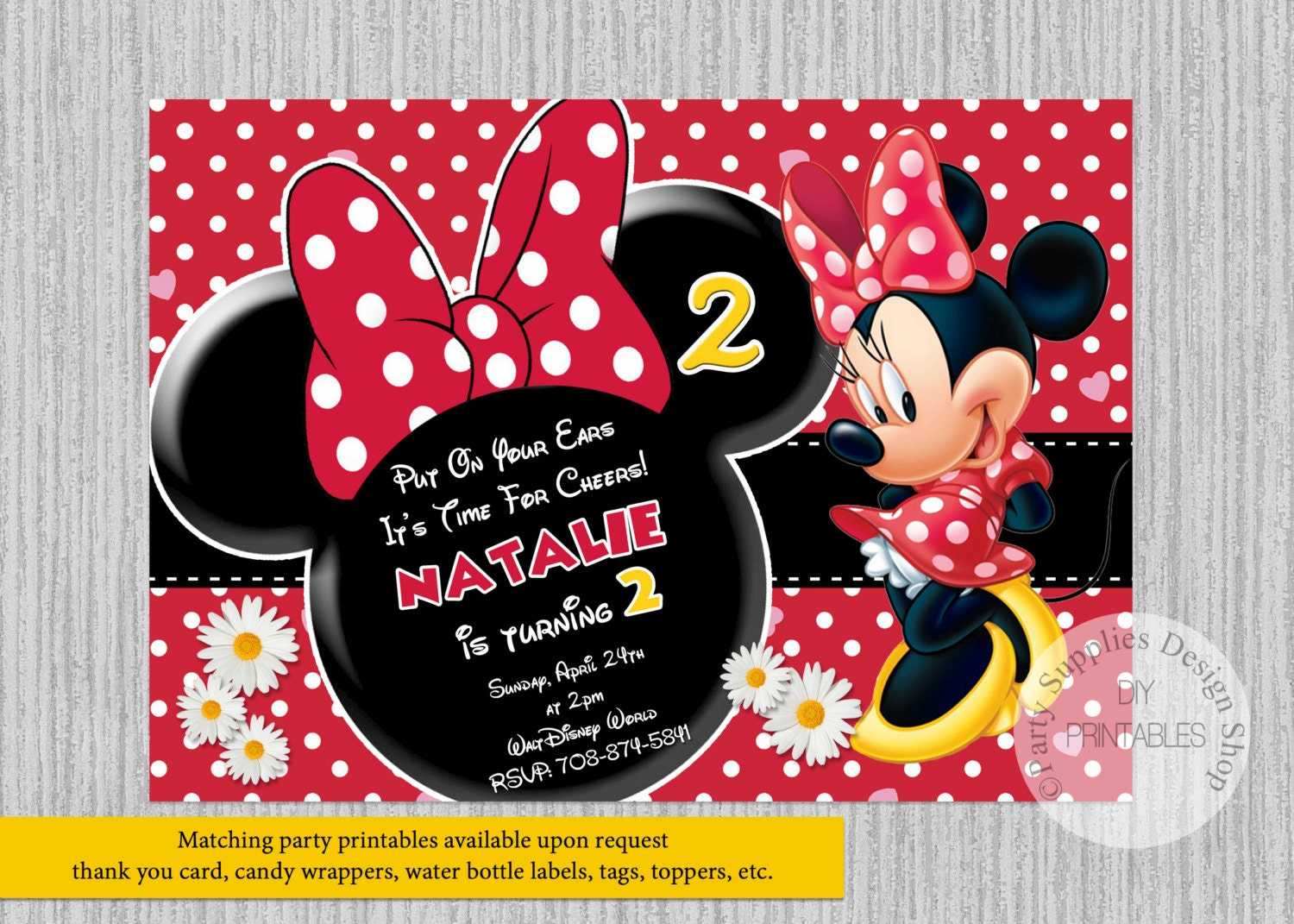 Red Minnie Mouse Birthday Invitations Any Age Minnie White Daisies Birthday Party Invitations Diy Printable Minnie Party Supplies
