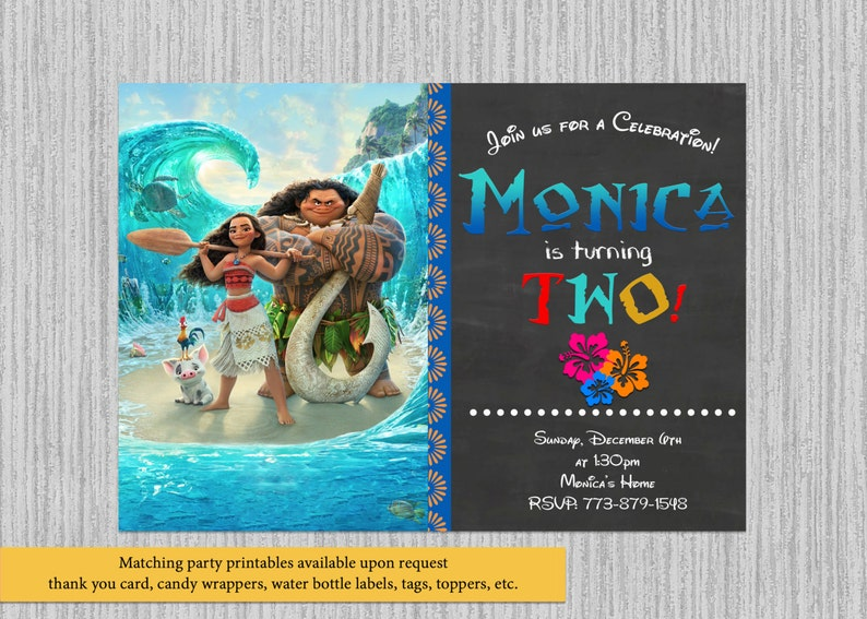 Disney Moana Birthday Invitations Movie Party Supplies Printable Chalkboard