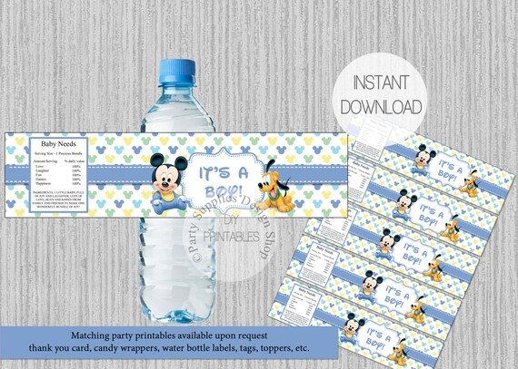 Baby Mickey Mouse Baby Shower Water Bottle Labels Instant Etsy