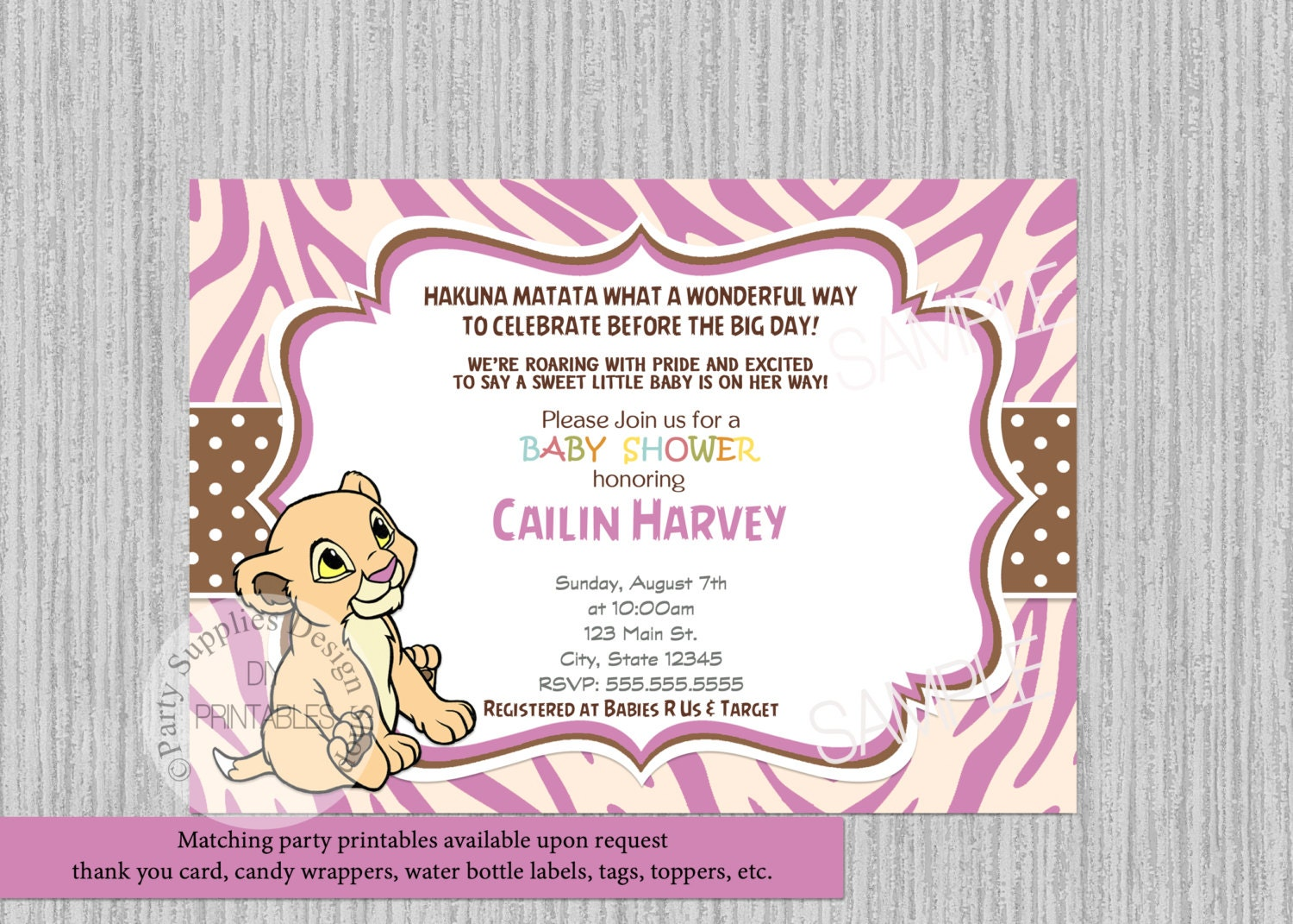 Lion King Invitation Baby Shower Party Lion King Baby Shower Invitation
