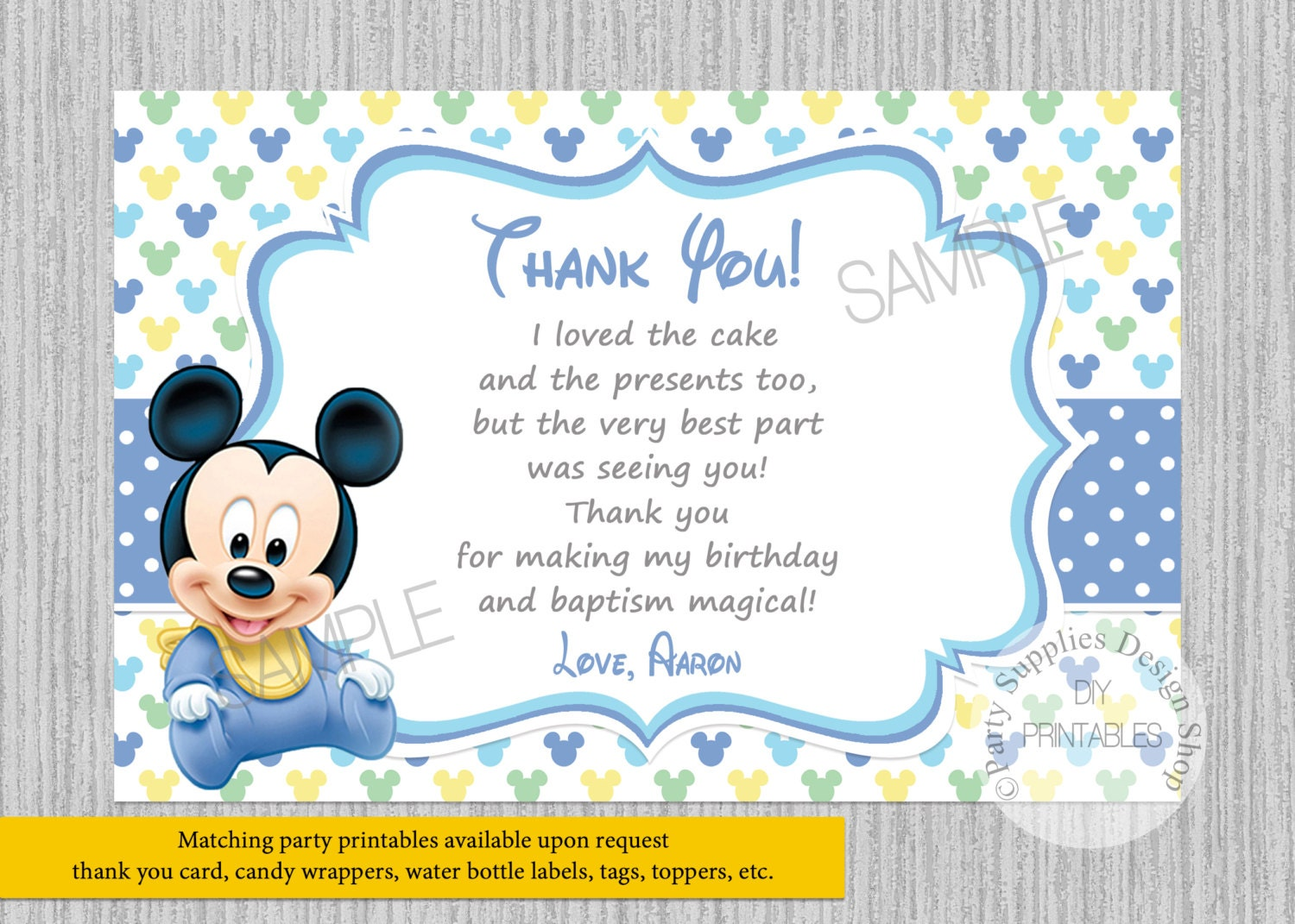 PRINTED or Digital Cute Baby Mickey Mouse 1st Birthday Thank | Etsy