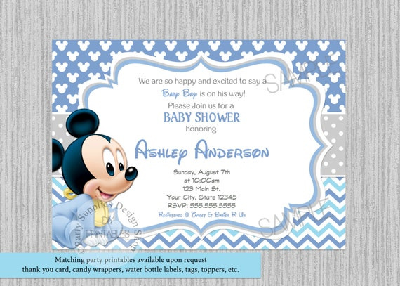 Printed or digital cute baby mickey mouse baby shower etsy image 0 filmwisefo