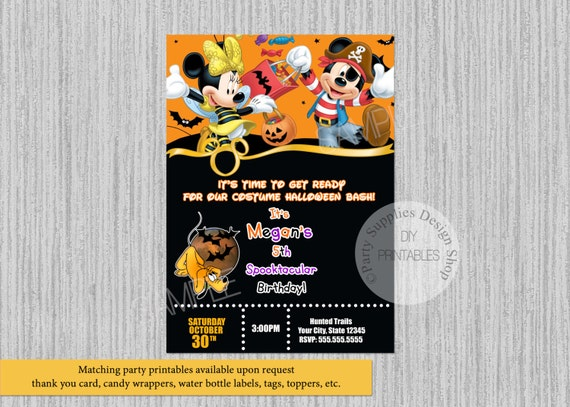 Halloween Mickey Mouse Birthday Invitations Diy Printable Etsy
