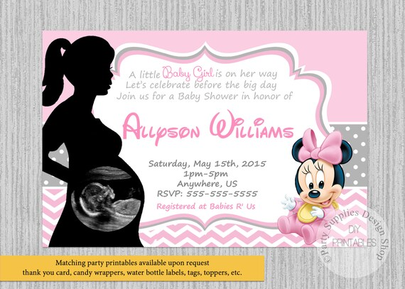 Printed Or Digital Baby Minnie Mouse Baby Shower Invitations Etsy