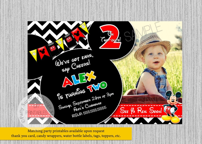 Mickey Mouse 2nd Birthday Invitations Clubhouse