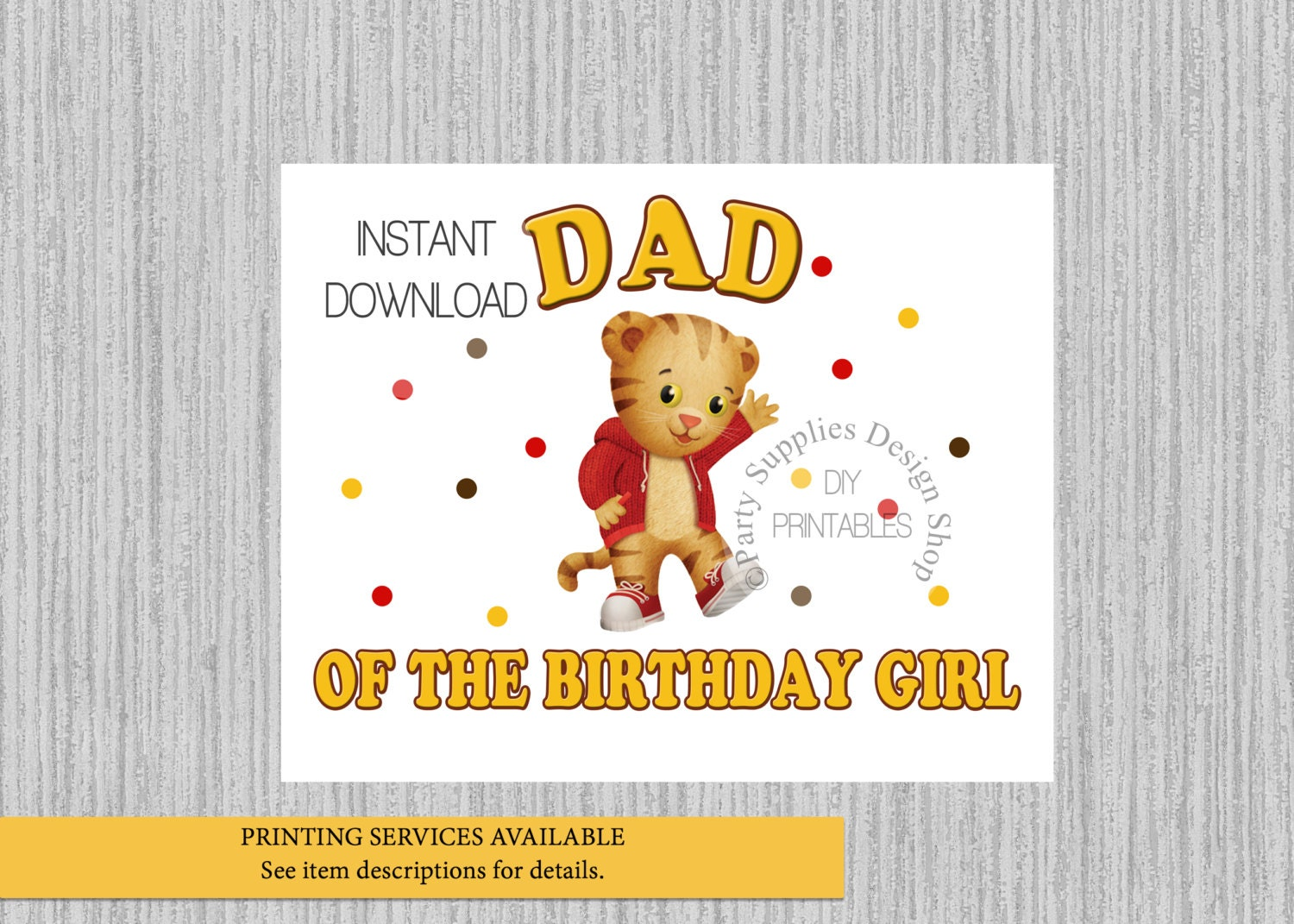 Daniel Tiger Dad of the Birthday Girl Iron On Instant | Etsy
