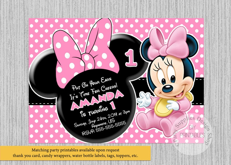 PRINTED Or Digital Baby Minnie Mouse Birthday Invitations 1st Party Supplies Disney Printable