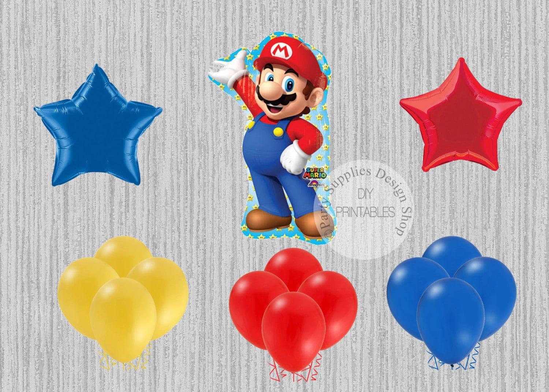 Super Mario Bros Birthday Balloons Super Mario Party | Etsy