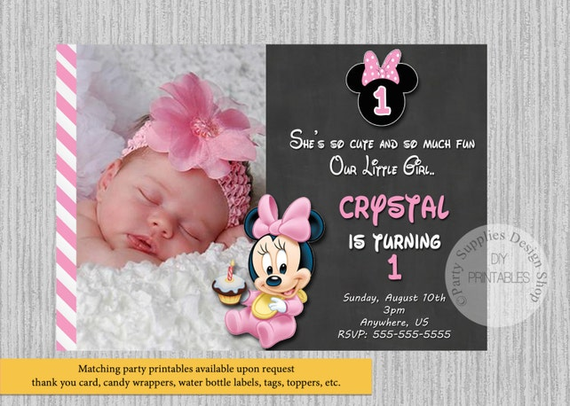 Cute Baby Minnie Mouse Birthday Invitations 1st Photo Party DIY Printable