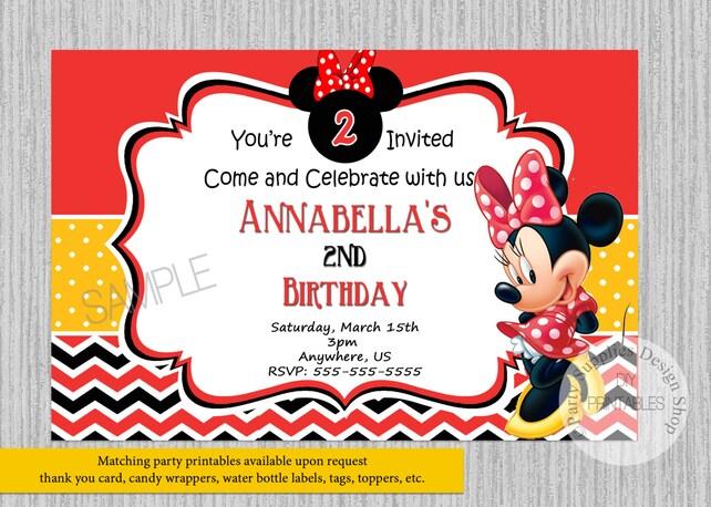 Printed Or Digital Minnie Mouse Birthday Invitations Red Minnie