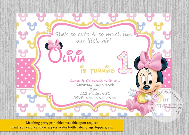 PRINTED Or Digital Baby Minnie Mouse Birthday Invitations