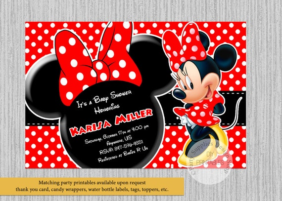 Printed Or Digital Red Minnie Mouse Baby Shower Invitations Etsy