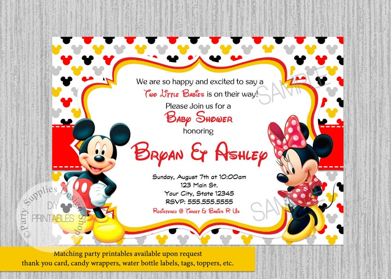 Twins Mickey Minnie Mouse Baby Shower Invitations Two Babies Etsy