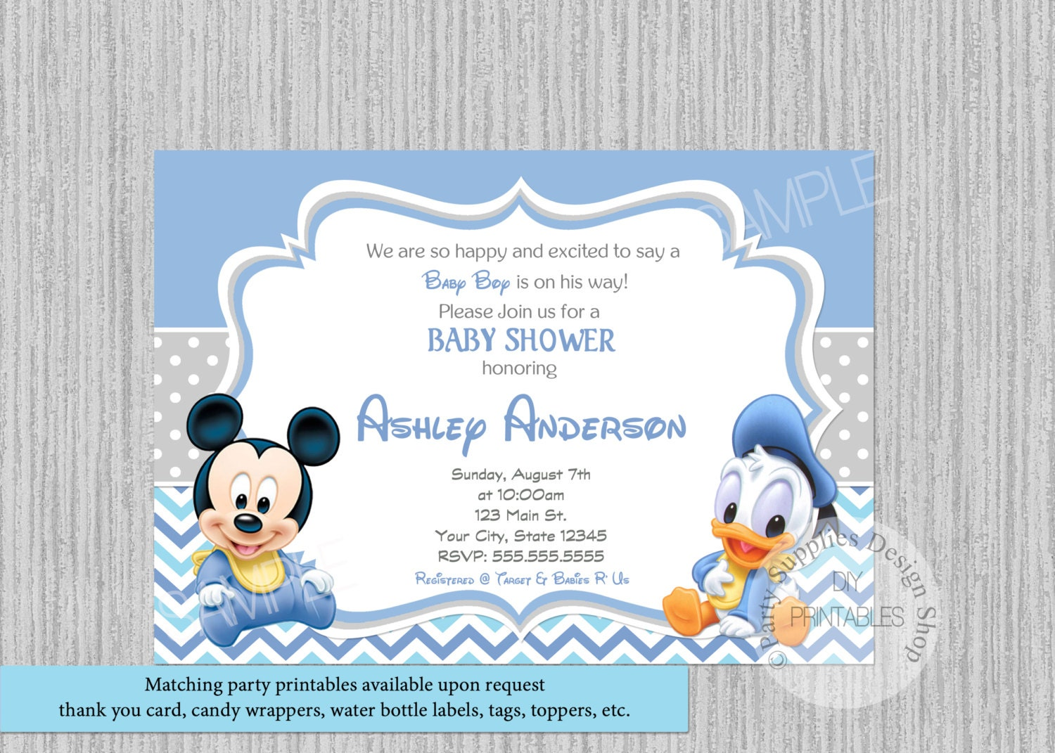 PRINTED or Digital Cute Baby Mickey Mouse Baby Shower | Etsy