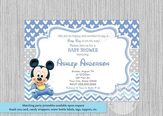 Disney Baby Mickey Mouse Baby Shower Invitations Mickey Baby Etsy