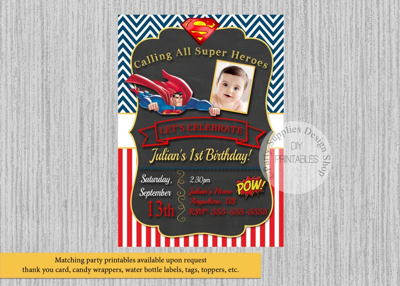 Chalkboard Superman Birthday Invitations